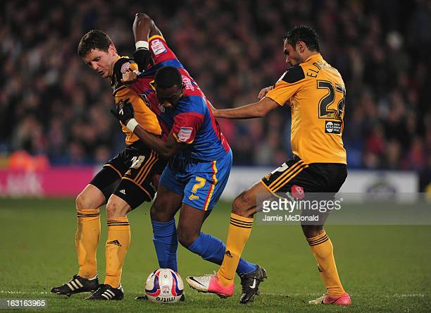 Yannick Bolasie of Crystal Palace battles with Alex Bruce of Hull City during the npower Championship match between Crystal Palace and Hull City at...