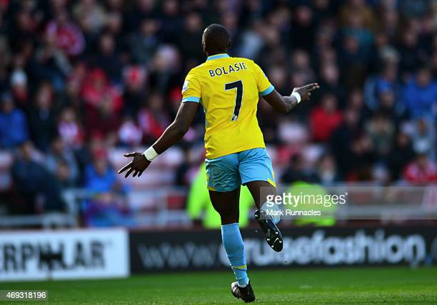 Yannick Bolasie of Crystal Palace celebrates after scoring his third goal in the second half during the Barclays Premier League match between...