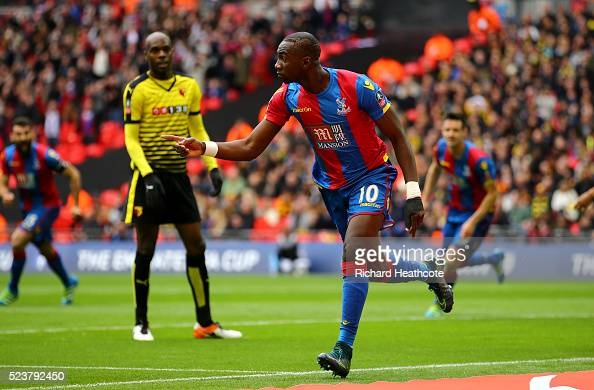 Yannick Bolasie of Crystal Palace celebrates as he score their first goal during The Emirates FA Cup semi final match between Watford and Crystal...