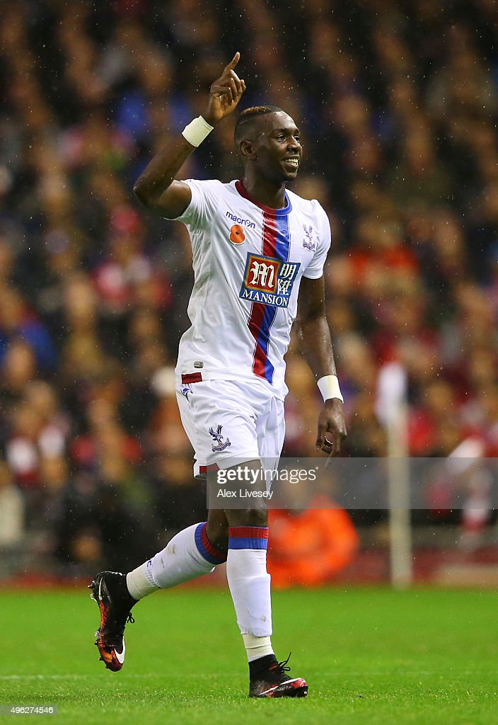 Yannick Bolasie of Crystal Palace celebrates scoring his side's opening goal during the Barclays Premier League match between Liverpool and Crystal Palace at Anfield on November 8, 2015 in Liverpool, England.