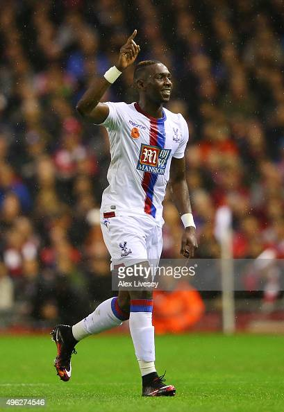 Yannick Bolasie of Crystal Palace celebrates scoring his side's opening goal during the Barclays Premier League match between Liverpool and Crystal...