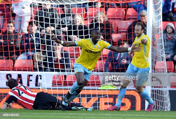Yannick Bolasie of Crystal Palace celebrates scoring his teams fourth goal during the Barclays Premier League match between Sunderland and Crystal...