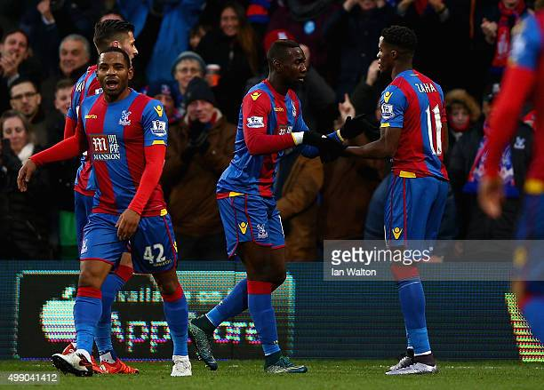 Yannick Bolasie of Crystal Palace celebrates scoring his team's second goal with his team mate Wilfried Zaha during the Barclays Premier League match...