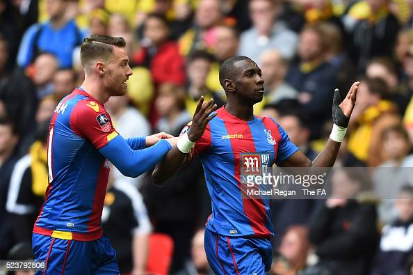 Yannick Bolasie of Crystal Palace celebrates scoring the opening goal during the Emirates FA Cup Semi Final between Crystal Palace and Watford at...