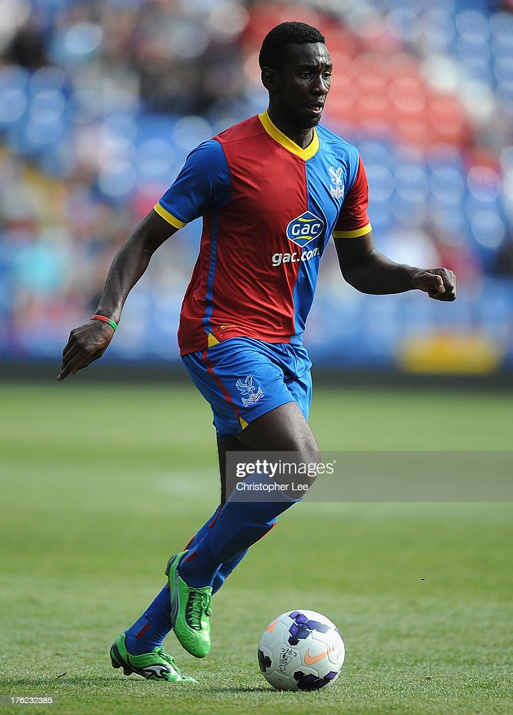 <a gi-track='captionPersonalityLinkClicked' href=/galleries/search?phrase=Yannick+Bolasie&family=editorial&specificpeople=6135147 ng-click='$event.stopPropagation()'>Yannick Bolasie</a> of Crystal Palace during a Pre Season Friendly between Crystal Palace and Lazio at Selhurst Park on August 10, 2013 in London, England.