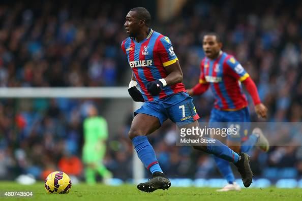 Yannick Bolasie of Crystal Palace during the Barclays Premier League match between Manchester City and Crystal Palace at the Etihad Stadium on...