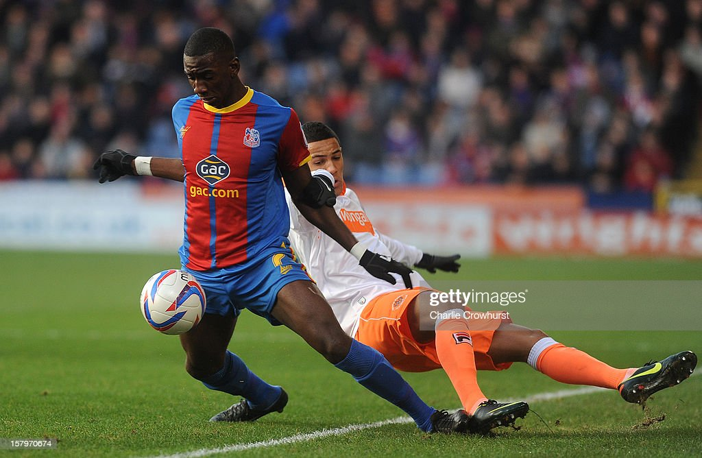 Yannick Bolasie of Crystal Palace holds off Thomas Ince off Blackpool during the npower Championship match between Crystal Palace and Blackpool at Selhurt Park on December 08, 2012 in London, England.