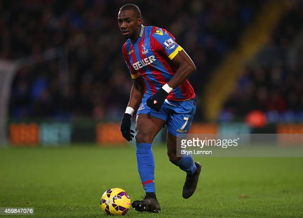 Yannick Bolasie of Crystal Palace in action during the Barclays Premier League match between Crystal Palace and Aston Villa at Selhurst Park on...