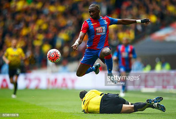 Yannick Bolasie of Crystal Palace jumps over a challenge during The Emirates FA Cup semi final match between Watford and Crystal Palace at Wembley...