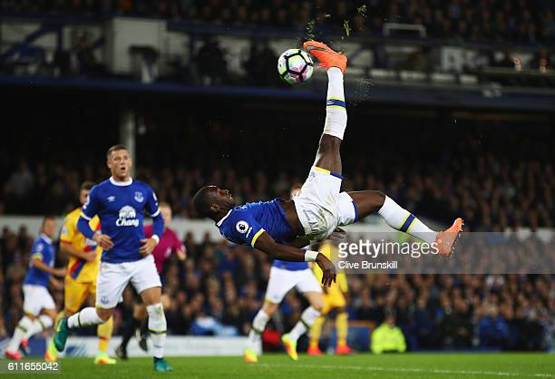 Yannick Bolasie of Everton performs an overhead kick during the Premier League match between Everton and Crystal Palace at Goodison Park on September...