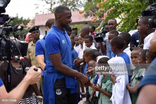 Yannick Bolasie of Everton visits Uhuru Primary School in DarEsSalaam on July 12 2017 in Dar es SalaamTanzania