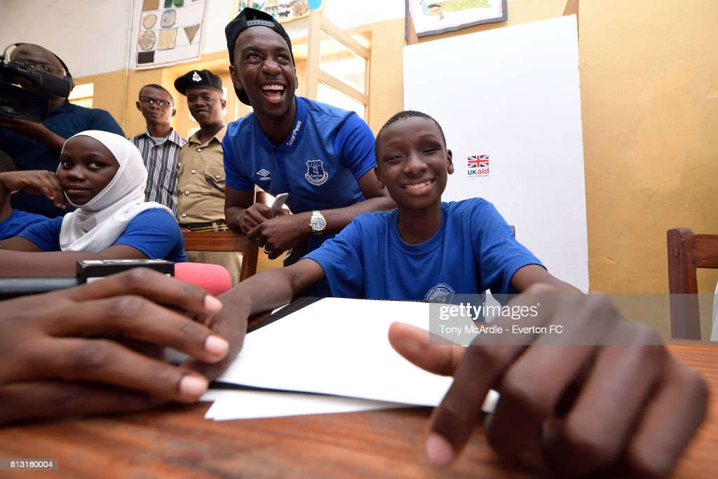 Yannick Bolasie of Everton visits Uhuru Primary School in Dar-Es-Salaam on July 12, 2017 in Dar es Salaam, Tanzania.