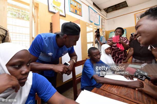 Yannick Bolasie of Everton visits Uhuru Primary School in DarEsSalaam on July 12 2017 in Dar es Salaam Tanzania