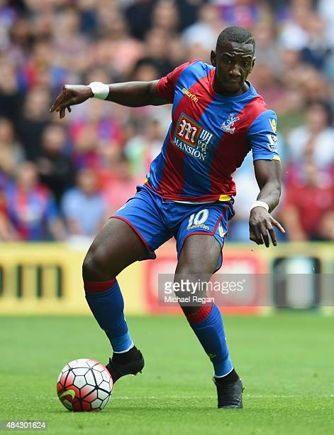 Yannick Bolasie of Palace in action during the Barclays Premier League match between Crystal Palace and Arsenal on August 16 2015 in London United...