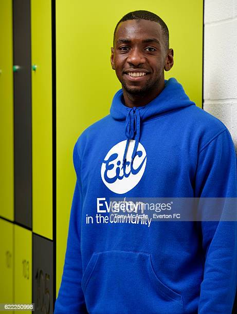Yannick Bolasie poses for a photo at an Everton in the Community Event at Fire Fit on November 2 2016 in Liverpool England