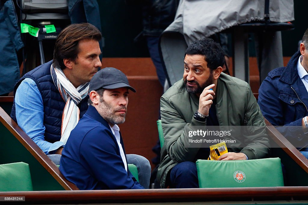 Yannick Bollore, <a gi-track='captionPersonalityLinkClicked' href=/galleries/search?phrase=Jalil+Lespert&family=editorial&specificpeople=2559583 ng-click='$event.stopPropagation()'>Jalil Lespert</a> and Cyril Hanouna attend the French Tennis Open Day 8 at Roland Garros on May 29, 2016 in Paris, France.