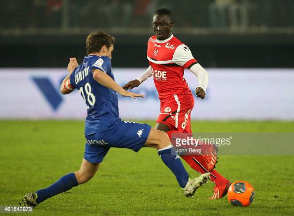 Yannick Cahuzac of Bastia and Saliou Ciss of Valenciennes in action during the french Ligue 1 match between Valenciennes FC and SC Bastia at the...