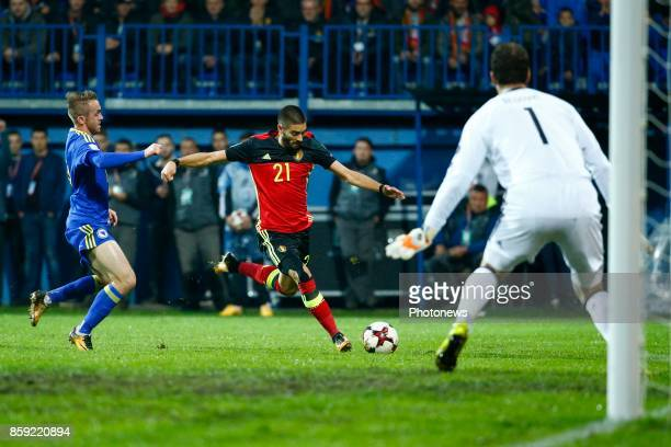 Yannick Carrasco forward of Belgium during the World Cup Qualifier Group H match between Bosnia and Herzegovina and Belgium at the Grbavica stadium...
