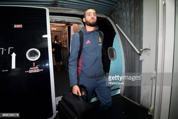 Yannick Carrasco forward of Belgium pictured during the arrival of the National Soccer Team of Belgium prior to the 2018 World Cup qualifier against...
