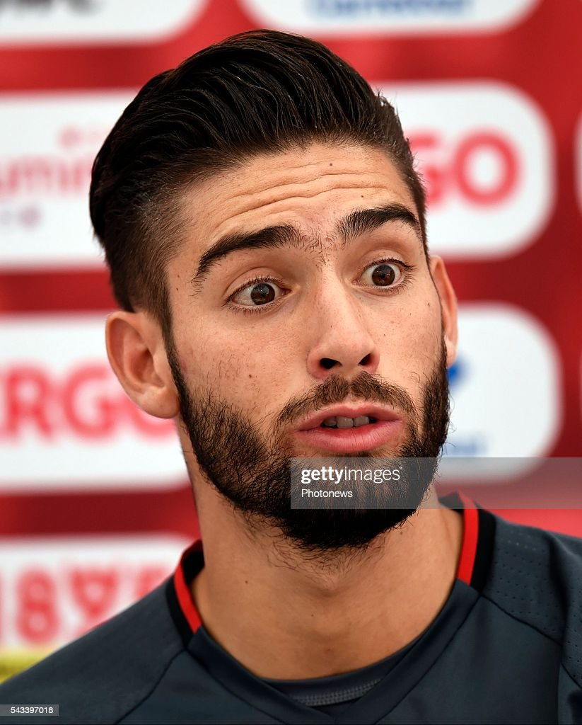 Yannick Carrasco forward of Belgium talks to the press during a press conference of the National Soccer Team of Belgium as part of the preparation prior to the UEFA EURO 2016 quarter final match between Wales and Belgium at the Chateau de Haillan training center on June 28, 2016 in Bordeaux, France ,