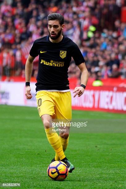 Yannick Carrasco midfielder of Atletico de Madrid drives the ball during the La Liga Santander match between Sporting de Gijon and Atletico de Madrid...