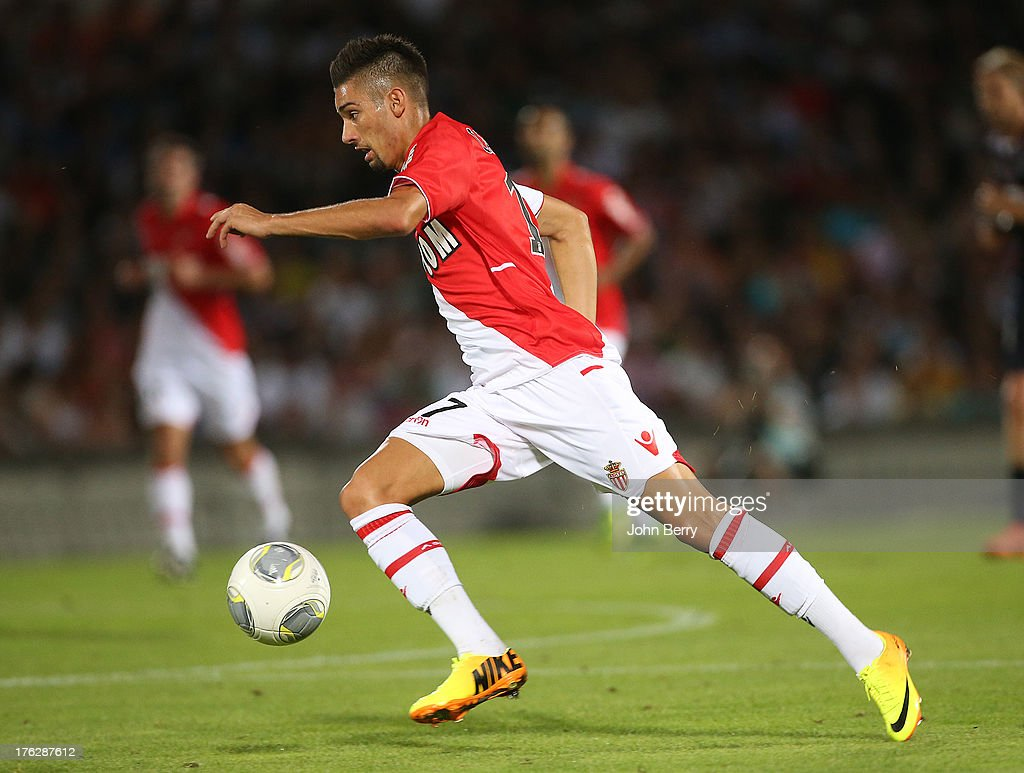 Yannick Carrasco of AS Monaco in action during the french Ligue 1 match between FC Girondins de Bordeaux and AS Monaco FC at the Stade Chaban-Delmas stadium on August 10, 2013 in Bordeaux, France.