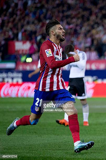 Yannick Carrasco of Atletico de Madrid celebrates scoring their second goal during the La Liga amtch between Club Atletico de Madrid and Valencia CF...