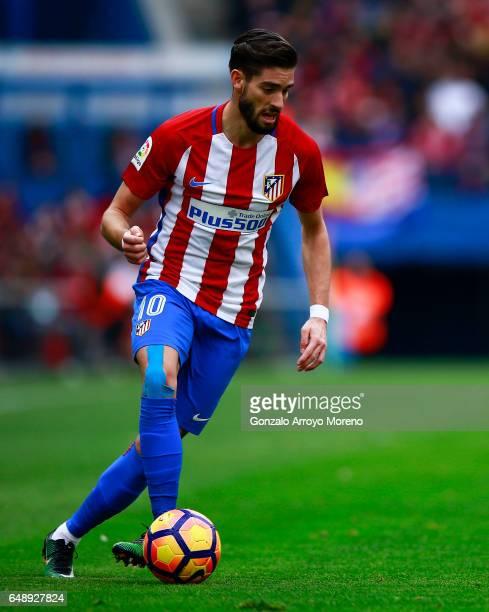 Yannick Carrasco of Atletico de Madrid controls the ball during the La Liga match between Club Atletico de Madrid and Valencia CF at Estadio Vicente...