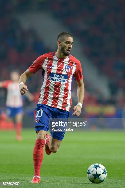 Yannick Carrasco of Atletico de Madrid drives the ball during a match between Atletico Madrid and AS Roma as part of the UEFA Champions League at...