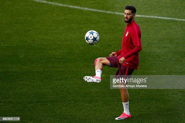 Yannick Carrasco of Atletico de Madrid excersises during a training session ahead of the UEFA Champions League Semifinal Second leg match between...