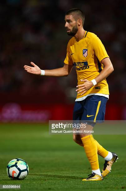 Yannick Carrasco of Atletico de Madrid in action during the La Liga match between Girona and Atletico Madrid at Municipal de Montilivi Stadium on...