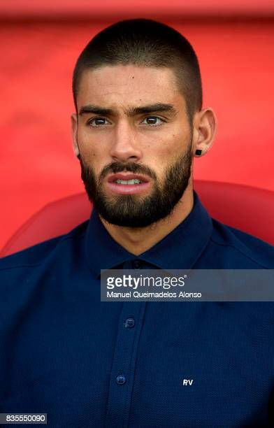 Yannick Carrasco of Atletico de Madrid looks on prior to the La Liga match between Girona and Atletico Madrid at Municipal de Montilivi Stadium on...
