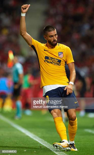Yannick Carrasco of Atletico de Madrid reacts during the La Liga match between Girona and Atletico Madrid at Municipal de Montilivi Stadium on August...