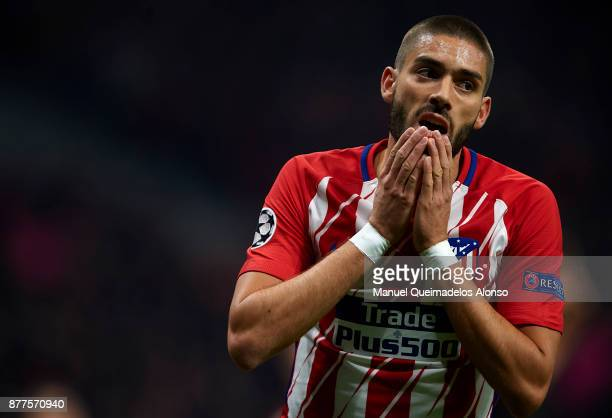 Yannick Carrasco of Atletico de Madrid reacts during the UEFA Champions League group C match between Atletico Madrid and AS Roma at Estadio Wanda...