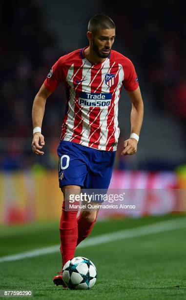 Yannick Carrasco of Atletico de Madrid runs with the ball during the UEFA Champions League group C match between Atletico Madrid and AS Roma at...
