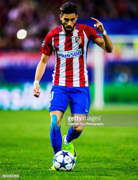 Yannick Carrasco of Atletico in action during the UEFA Champions League Round of 16 second leg match between Atletico Madrid and Bayer Leverkusen at...
