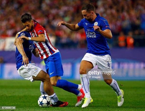 Yannick Carrasco of Atletico Madrid and Danny Drinkwater of Leicester City battle for the ball during the UEFA Champions League Quarter Final first...