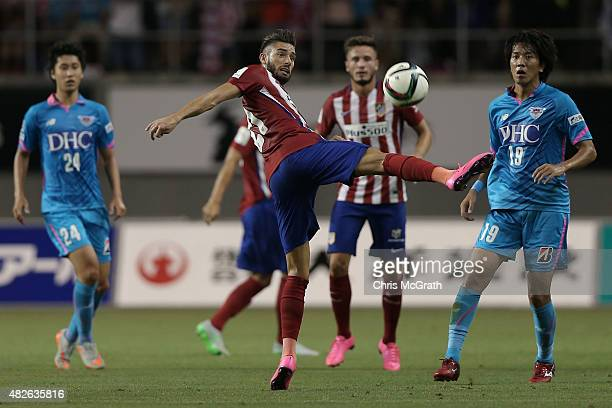 Yannick Carrasco of Atletico Madrid deflects a pass against Sagan Tosu FC during the friendly match between Atletico Madrid and Sagan Tosu FC at Tosu...