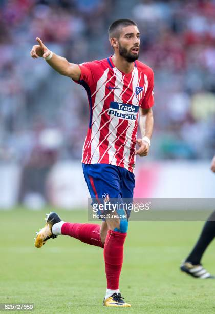 Yannick Carrasco of Atletico Madrid gestures during the Audi Cup 2017 match between Club Atletico de Madrid and SSC Napoli at Allianz Arena on August...