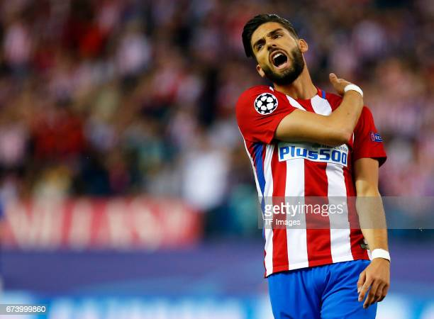 Yannick Carrasco of Atletico Madrid gestures during the UEFA Champions League Quarter Final first leg match between Club Atletico de Madrid and...