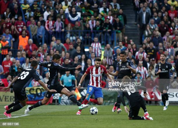 Yannick Carrasco of Atletico Madrid in action during the UEFA Champions League semi final second leg match between Atletico Madrid and Real Madrid at...