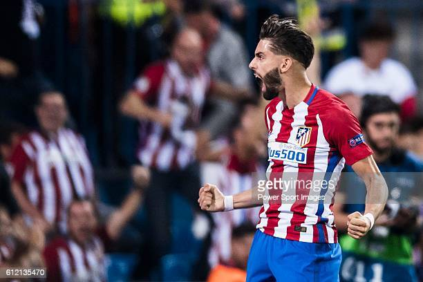 Yannick Carrasco of Atletico Madrid reacts during their 201617 UEFA Champions League match between Atletico Madrid vs FC Bayern Munich at the Vicente...