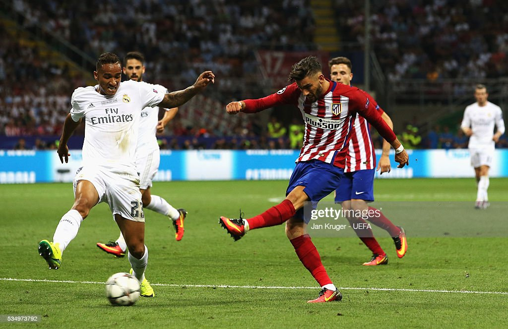 Yannick Carrasco of Atletico Madrid shoots at goal during the UEFA Champions League Final between Real Madrid and Club Atletico de Madrid at Stadio Giuseppe Meazza on May 28, 2016 in Milan, Italy.