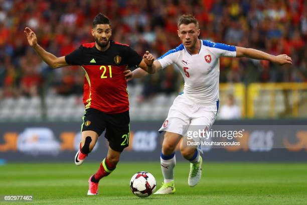 Yannick Carrasco of Belgium battles for the ball with Jakub Brabec of the Czech Republic during the International Friendly match between Belgium and...