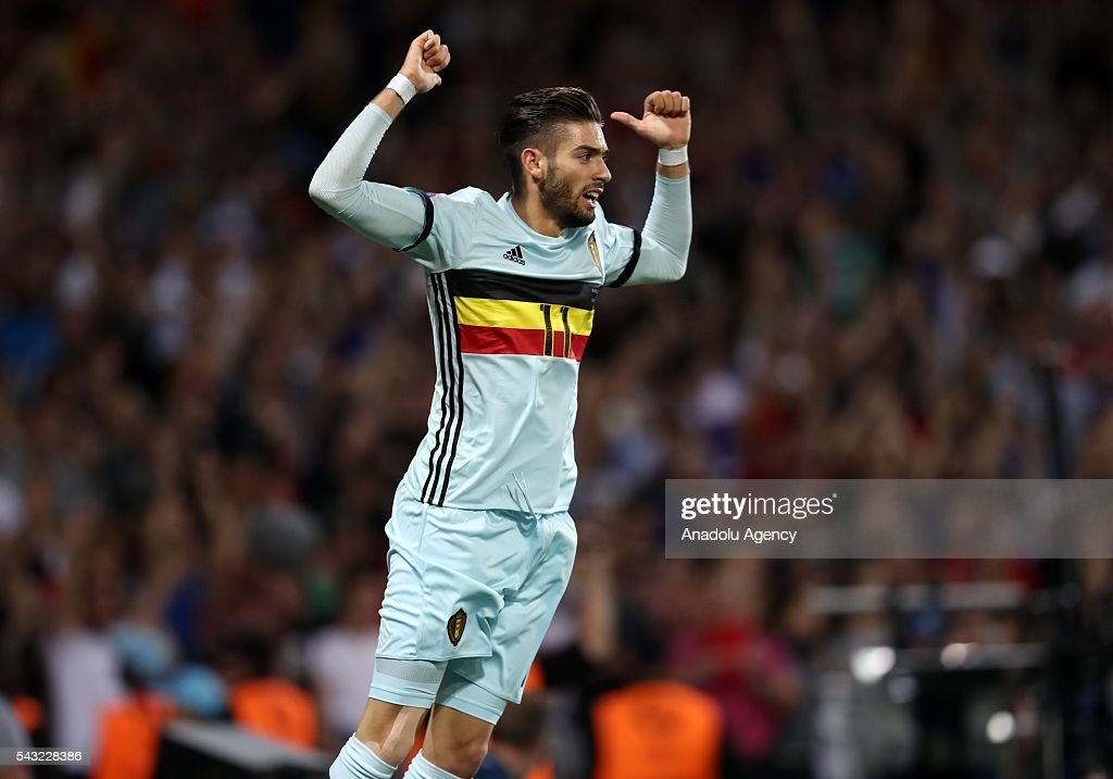 Yannick Carrasco of Belgium celebrates after scoring a goal during the UEFA Euro 2016 round of 16 football match between Hungary and Belgium at Stadium Municipal in Toulouse, France on June 26, 2016.