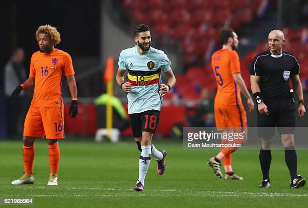 Yannick Carrasco of Belgium celebrates as he scores their first and equalising goal during the international friendly match between Netherlands and...