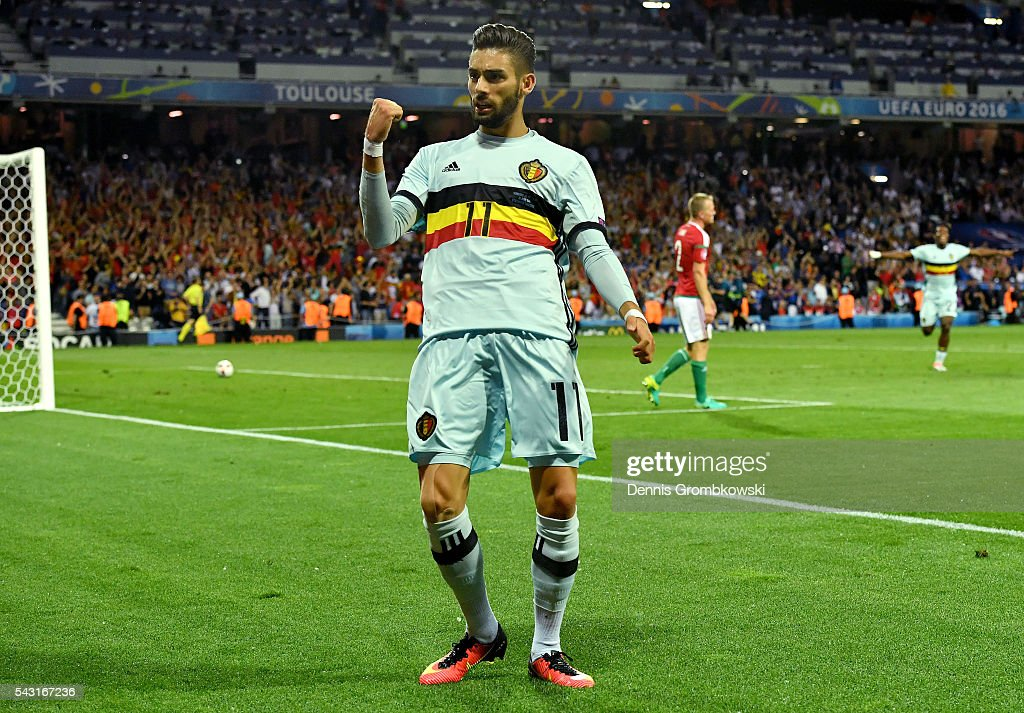 Yannick Carrasco of Belgium celebrates scoring his team's fourth goal during the UEFA EURO 2016 round of 16 match between Hungary and Belgium at Stadium Municipal on June 26, 2016 in Toulouse, France.
