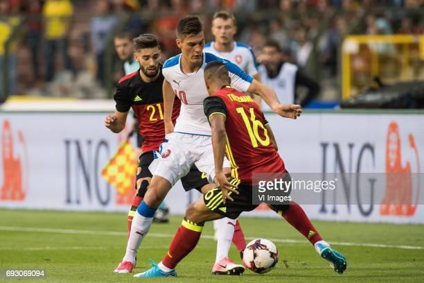 Yannick Carrasco of Belgium Patrik Schick of Czech Republic Youri Tielemans of Belgiumduring the friendly match between Belgium and Czech Republic on...