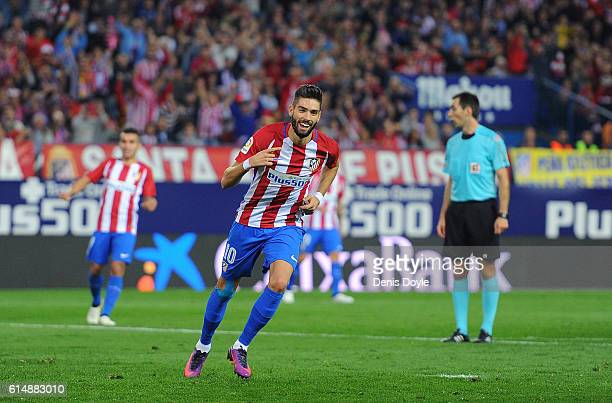 Yannick Carrasco of Club Atletico de Madrid celebrates after scoring his 3rd goal during the La Liga match between Club Atletico de Madrid and...