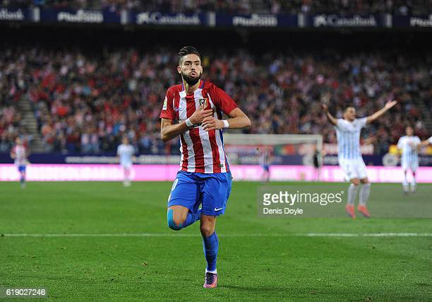 Yannick Carrasco of Club Atletico de Madrid celebrates after scoring his team's 4th goal during the La Liga match between Club Atletico de Madrid and...